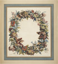 Antiques:Posters & Prints, Jean-Baptiste Monnoyer. Guirlande de Fleurs. Hand-colored flowergarland. Generally very good condition....