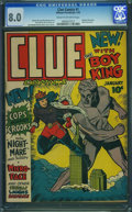 Golden Age (1938-1955):Crime, Clue Comics #1 (Hillman Publications, 1943) CGC VF 8.0 Cream to off-white pages.