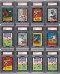 Baseball Cards:Other, 1960's-1970's Topps, Fleer & O-Pee-Chee Multi-sport PSA-Graded Unopened Wax/Cello Packs (12)....