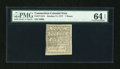 Colonial Notes:Connecticut, Connecticut October 11, 1777 7d PMG Choice Uncirculated 64 EPQ....
