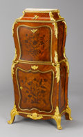 Furniture : French, A FRENCH LOUIS XV-STYLE GILT BRONZE MOUNTED TULIPWOOD AND ROSEWOOD MARQUETRY PETIT SECRETAIRE. After the model by Jean-Franc...