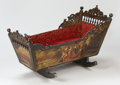 Furniture : Continental, A DUTCH POLYCHROME PAINTED WOOD CRADLE. 18th Century. 27 x 44 x 21-1/2 inches (68.6 x 111.8 x 54.6 cm). ...