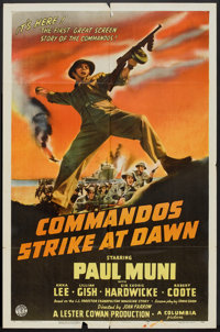 "Commandos Strike at Dawn (Columbia, 1942). One Sheet (27"" X 41"") Style B. War"