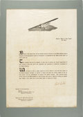 Autographs:Celebrities, Charles Lindbergh: Signed Spirit of St. Louis Poster. ...