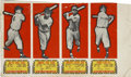 "Baseball Cards:Other, 1951 Topps ""Connie Mack All-Time All-Stars"" 4-Card Uncut PartialSheet. ..."