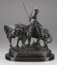 A RUSSIAN BRONZE GROUP OF ZAPOREZH COSSACK AFTER BATTLE Cast from a model by Evgeni Alexandrovich Lance