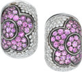 Estate Jewelry:Earrings, Pink Sapphire, Diamond, White Gold Earrings. ... (Total: 2 Items)