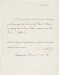 """Autographs:U.S. Presidents, Ulysses S. Grant Presidential Note Authorizing a CongratulatoryLetter to Queen Victoria Signed """"U. S. Grant"""". One..."""