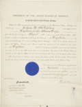 "Autographs:U.S. Presidents, Woodrow Wilson Document Signed as president. One page, 15"" x 19.5"",September 14, 1916, Washington, [D.C.]. Countersigned by..."