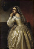 Fine Art - Painting, European:Other , EUROPEAN SCHOOL (19th Century). Portrait of a Lady withBeautiful Veil. Oil on canvas. 40 x 57 inches (101.6 x 144.8...