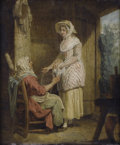 Fine Art - Painting, European:Antique  (Pre 1900), FRANCIS WHEATLEY (British, 1747-1801). The AffectionateDaughter. Oil on canvas. 12 x 10 inches (30.5 x 25.4 cm). ...