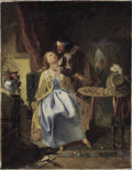 Fine Art - Painting, European:Other , FRENCH SCHOOL (19th Century). Cavalier Caressing a Lady. Oil on canvas. 22 x 17 inches (55.9 x 43.2 cm). Signed lowe...