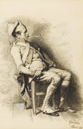 Fine Art - Painting, European:Other , GRIMM (19th Century). Soldier on Duty, 1881. White wash on paper. 9 x 6 inches window (22.9 x 15.2 cm). Inscribed lower ...