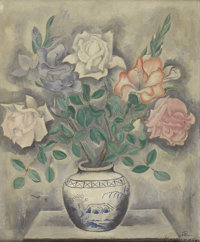 SEI KOYANAGUI (Japanese, 1896-1948) Still Life with Roses in a Delft Jar Oil on canvas 25-3/4 x 21-1/2 inches (65