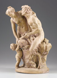 After CLAUDE MICHEL CLODION (French, 1738-1814) Group of a Satyr, Bacchante, and Putto Terracotta