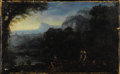 Fine Art - Painting, European:Antique  (Pre 1900), Circle of ÉTIENNE ALLEGRAIN (French, 1644-1736). Figures atWater's Edge. Oil on canvas. 9-1/4 x 15 inches (23.5 x 3...