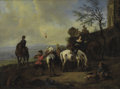 Fine Art - Painting, European, Manner of NICOLAES BERCHEM (Dutch, 1620-1683). ItalianateLandscape with Figures Preparing for a Hunt. Oil on canvas...
