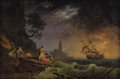 Fine Art - Painting, European:Antique  (Pre 1900), School of CLAUDE JOSEPH VERNET (French, 1714-1789). Shipwreck onStormy Sea. Oil on canvas. 13-1/2 x 20 inches (34.3 x 5...