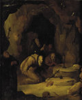 Fine Art - Painting, European:Antique  (Pre 1900), Circle of GERRIT DOU (Dutch, 1613-1675). St. Francis and Hermitsin Prayer, circa 1700. Oil on beveled panel. 11-1/2 x 9...