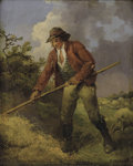Fine Art - Painting, European:Antique  (Pre 1900), GEORGE MORLAND (British, 1763-1804). Making Hay. Oil oncanvas. 12-1/2 x 10-1/2 inches (31.8 x 26.7 cm). Signed lower ri...
