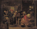 Fine Art - Painting, European, HENRICUS ENGELBERTUS REIJNTJENS (Dutch, 1817-1900). TheFeast. Oil on beveled board. 12-1/4 x 15-7/8 inches (31.0 x ...