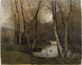 Fine Art - Painting, European:Modern  (1900 1949)  , LOUIS AIME JAPY (Swiss, 1840-1916). River Landscape with BirchTrees. Oil on canvas. 26 x 32 inches (66.0 x 81.3 cm)...