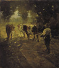 Fine Art - Painting, European:Modern  (1900 1949)  , R.B. PASQUELL (French, 19th Century). Leading the Cows toPasture. Oil on canvas laid on board. 13-3/4 x 12 inches(35.1...