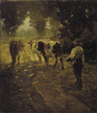 R.B. PASQUELL (French, 19th Century) Leading the Cows to Pasture Oil on canvas laid on board 13-3