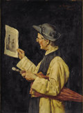 Fine Art - Painting, European:Antique  (Pre 1900), ARNALDO TAMBURINI (Italian, 1843-1901). The Daily Papers,circa 1890. Oil on beveled panel. 10 x 7-1/2 inches (25.4 x 19...