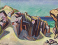 Fine Art - Painting, European:Contemporary   (1950 to present)  , BRUNO KRAUSKOPF (German, 1892-1960). Rocky Coastline.Gouache on paper. 19-1/4 x 25 inches (48.9 x 63.5 cm). Signedlowe...