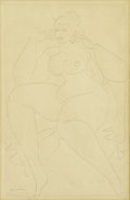Fine Art - Painting, American:Modern  (1900 1949)  , GASTON LACHAISE (French/American, 1882-1935). Large SeatedNude. Graphite on paper. 18 x 12 inches (45.7 x 30.5 cm).Sig...