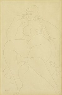 GASTON LACHAISE (French/American, 1882-1935) Large Seated Nude Graphite on paper 18 x 12 inches (