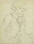 Fine Art - Painting, European:Antique  (Pre 1900), LOUIS JOSEPH WATTEAU (French, 1731-1798). Gentleman withJabot. Graphite on paper. 3 x 2-1/4 inches (7.6 x 5.7 cm). ...