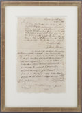 "Autographs:Military Figures, [Battle of Ridgefield] David Wooster Letter Signed Beneath and in Response to a Gold Selleck Silliman Letter. One page, 8"" x..."