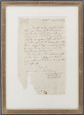 "Autographs:Military Figures, [Battle of Ridgefield] David Wooster Autograph Letter Signed""David Wooster/ Major General"". One page, 7.5"" x 12.5"",..."