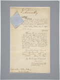 "Autographs:Non-American, Queen Victoria Document Signed at top ""Victoria R"" as queen.One page partially printed, 8.25"" x 13.5"", November 3, 1896..."