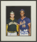 Autographs:Others, Jose Canseco And Darryl Strawberry Dual Signed Framed Photograph....