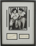 Autographs:Others, Ted Williams And Joe DiMaggio Dual Signed Index Cards Framed With Photo....