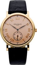 Timepieces:Wristwatch, Patek Philippe Ref. 3923 Rose Gold Men's Wristwatch with Rose Dial,circa 1990's. ...