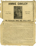 Western Expansion:Cowboy, Advertising: Annie Oakley Peerless Wing and Rifle Shot Broadside, Circa 1905-1915....
