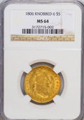 Early Half Eagles, 1806 $5 Round Top 6, 7x6 Stars MS64 NGC....
