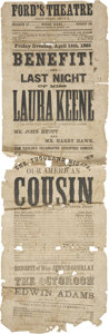 Political:Posters & Broadsides (pre-1896), [Abraham Lincoln] Ford's Theatre Broadside: Our American Cousin. ...