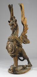 Fine Art - Sculpture, European:Antique (Pre 1900), AN ITALIAN CARVED WOOD GRIFFIN. 19th Century. 66 x 20-1/2 x 28-1/2 inches (167.6 x 52.1 x 72.4 cm). ...