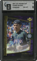 Baseball Cards:Singles (1970-Now), 2001 UD Ultimate Collection #120 Ichiro Suzuki Signed GAI NM-MT 8. ...
