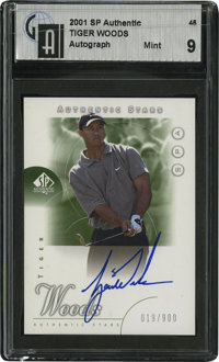 2001 SP Authentic Tiger Woods Signed Card GAI Mint 9