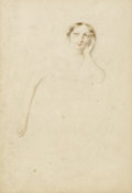 Fine Art - Painting, European:Antique  (Pre 1900), GEORGE HENRY HARLOW (British, 1787-1819). Portrait of aLady. Watercolor and graphite on paper. 11-1/2 x 8 inches (29.2...