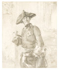 Fine Art - Painting, European:Antique  (Pre 1900), In the style of ADOLF VON MENZEL (Polish/German, 1815-1905). TheProud Officer. Pencil on paper. 9-3/4 x 8-1/4 inches (2...