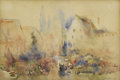 Fine Art - Painting, European:Antique  (Pre 1900), Attributed to HERCULES BRABAZON (British, 1821-1906). FlowerMarket, France. Watercolor on paper. 4-1/2 x 7 inches (11.4...
