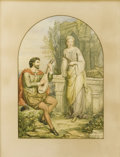 Fine Art - Painting, European:Antique  (Pre 1900), CHARLES HEATH WILSON (British, 1809-1882). The Troubadour andHis Lady, 1878. Watercolor and graphite on paper. 20-3/4 x...