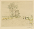 Fine Art - Painting, European:Antique  (Pre 1900), JEAN FRANÇOIS RAFFAËLLI (French, 1850-1924). La Route aux GrandsArbres . Color etching on paper. 6-1/4 x 7-3/4 inches (...